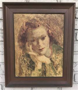 CIRCA 1940'S PORTRAIT OF A WOMAN, SIGNED ILLEGIBLY