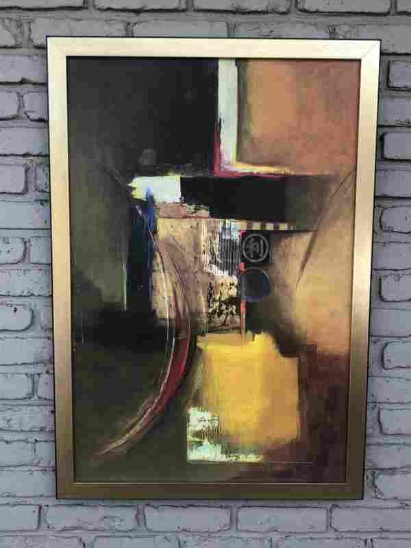 1970'S (?) ABSTRACT UNSIGNED PAINTING ON BOARD,