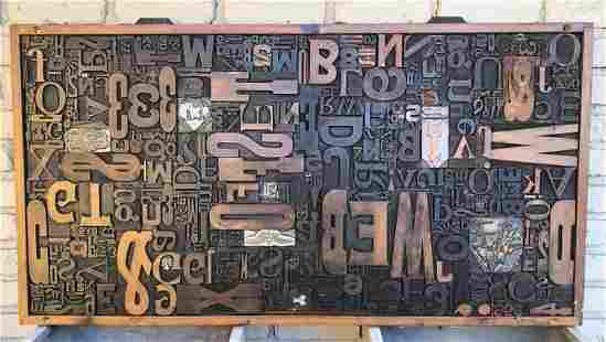 WONDERFUL PRINT DRAWER WITH TYPE LAID OUT INSIDE, GREAT