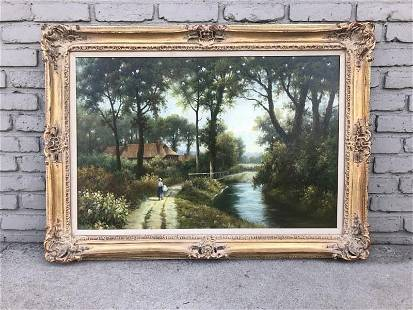 LARGE IMPRESSIONIST O/C LANDSCAPE WITH WOMAN WALKING ON