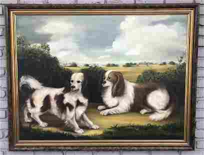 LARGE O/C (2) CAVALIER KING CHARLES SPANIELS, SIGNED C