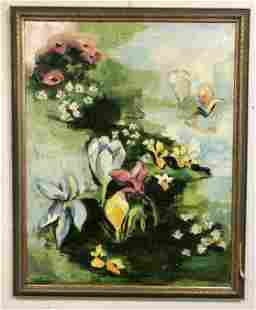 EVELYNE DAITZ (1936-2019) MID CENTURY O/CFLORAL STILL