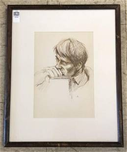 HUNTER MALLORY (1926-2014) DRAWING OF A YOUNG MAN, ROME
