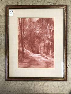 HUNTER MALLORY ( 1926-2014) CONTE CHALK DRAWING ON