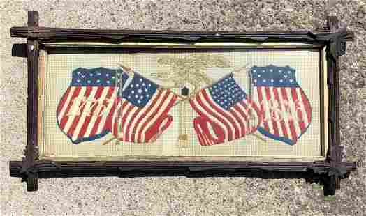 1776-1876 EMBROIDERED FLAGS WITH EAGLE ON TOP, IN