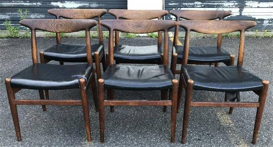 6 OAK HANS WEGNER DINING CHAIRS IN AS FOUND ESTATE