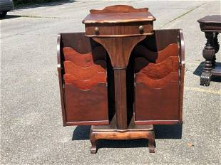 MAHOGANY FILE CABINET WITH 1 DRAWER, DOORS OPEN UP WITH