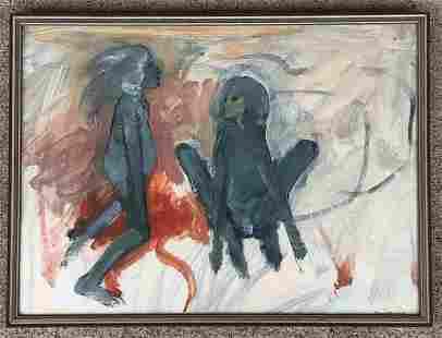 ROBERT BEAUCHAMP (1923-1995) MID CENTURY PAINTING WITH