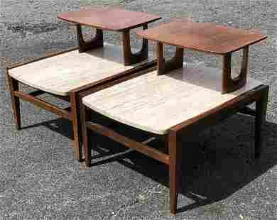 PR. MID CENTURY MODERN MARBLE TOP END TABLES, WALNUT,