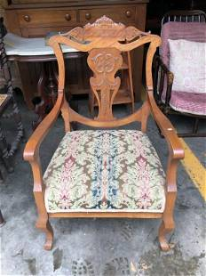 CARVED MAHOGANY ARMCHAIR FROM LOCAL ESATTE, GOOD