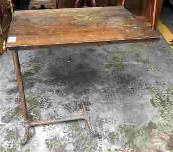 INDUSTRIAL OAK TOP ADJUSTABLE STAND W/IRON BASE, TOP