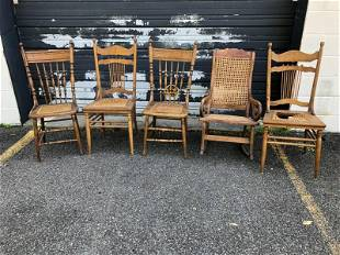 LOT OF OLD CHAIRS AND ROCKING CHAIR IN AS FOUND ESTATE