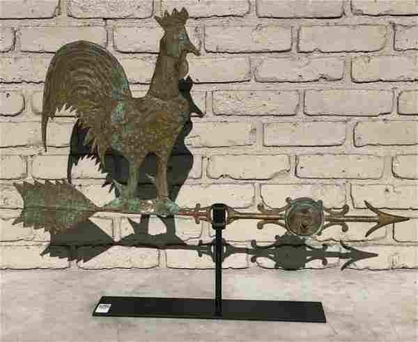 OLDER COPPER BODY ROOSTER WEATHERVANE WITH IRON