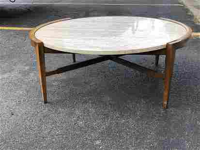 ROUND MARBLE TOP MID CENTURY WALNUT COFFEE TABLE, FROM