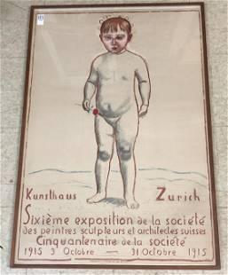 FERDINAND HODLER 1915 EXHIBITION LITHOGRAPH POSTER