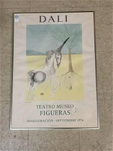 SALVADOR DALI PENCIL SIGNED 1974 POSTER TEATRO MUSEO
