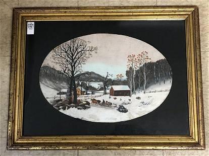 19TH C O/B FOLK ART WINTER LANDSCAPE WITH HORSE DRAWN
