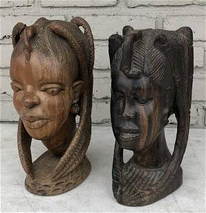 (2) AFRICAN WOOD CARVED FEMALE HEADS, ORIGINS UNKNOWN,