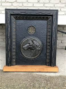 19TH C CAST IRON FIREPLACE INSERT WITH HORSE HEAD, FROM