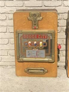 OLDER WOOD ( DODGE CITY) HANGING SLOT MACHINE IN AS