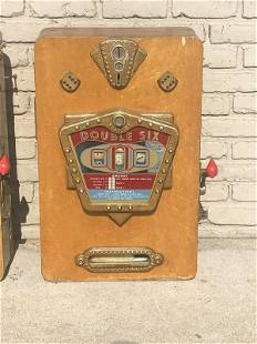 OLDER WOOD ( DOUBLE SIX) HANGING SLOT MACHINE IN AS