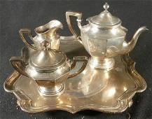 275: STERLING SILVER 4 PC TEA SET W/TRAY, MARKED ON BO