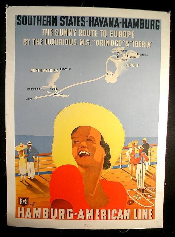 1: VINTAGE POSTER- HAMBURG AMERICAN LINE CIRCA 1930 SOU