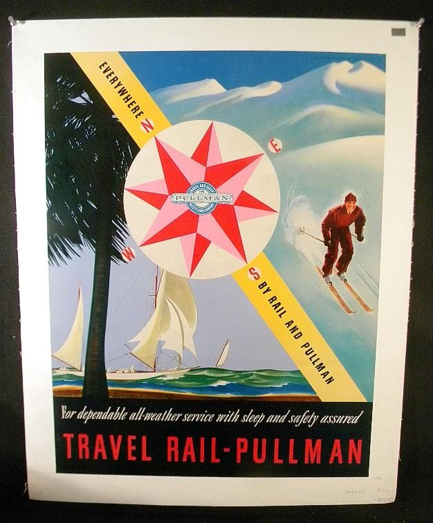 2: VINTAGE POSTER - TRAVEL RAIL-PULLMAN 1940'S WITH SAI