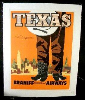 VINTAGE POSTER- BRANIFF INTERNATIONAL AIRWAYS TEXAS