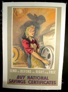 7: VINTAGE POSTER- WW II ERA BRITISH FEMALE PRODUCTION