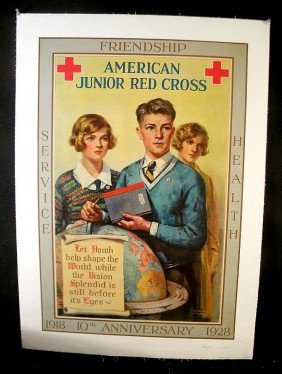 8: VINTAGE POSTER- 1928 AMERICAN JUNIOR RED CROSS 10TH