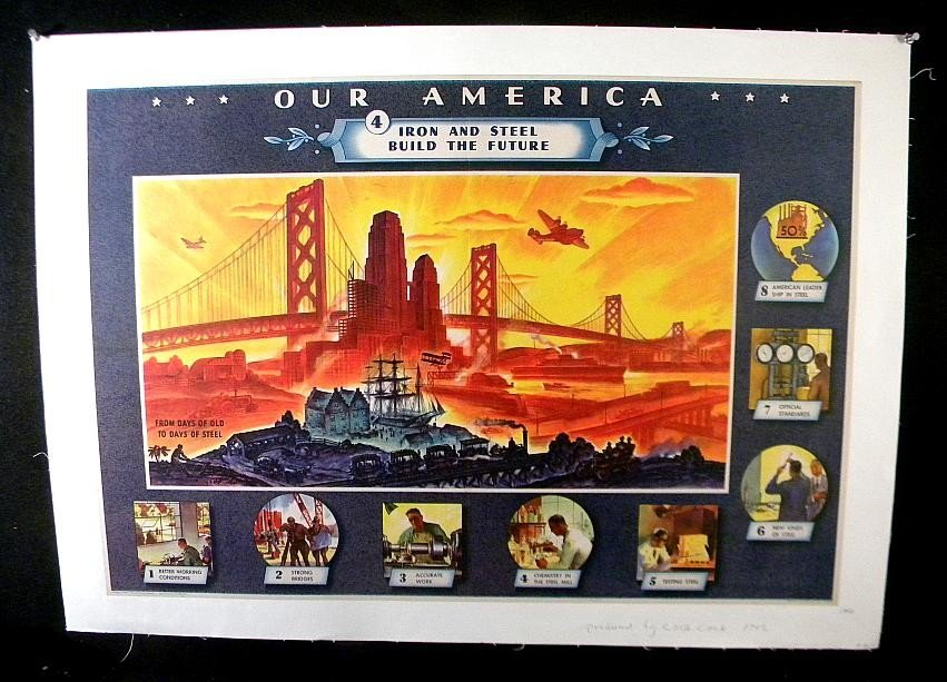 12: VINTAGE POSTER- 1942 COCA COLA OUR AMERICA IRON & S