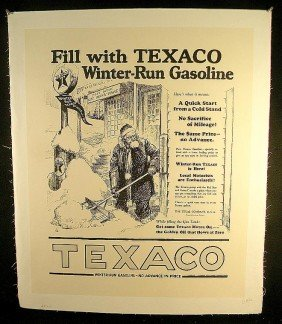 VINTAGE POSTER- CIRCA 1920 TEXACO GASOLINE SANTA SH