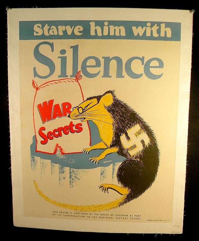 14: VINTAGE POSTER- WW II STARVE HIM WITH SILENCE RAT W
