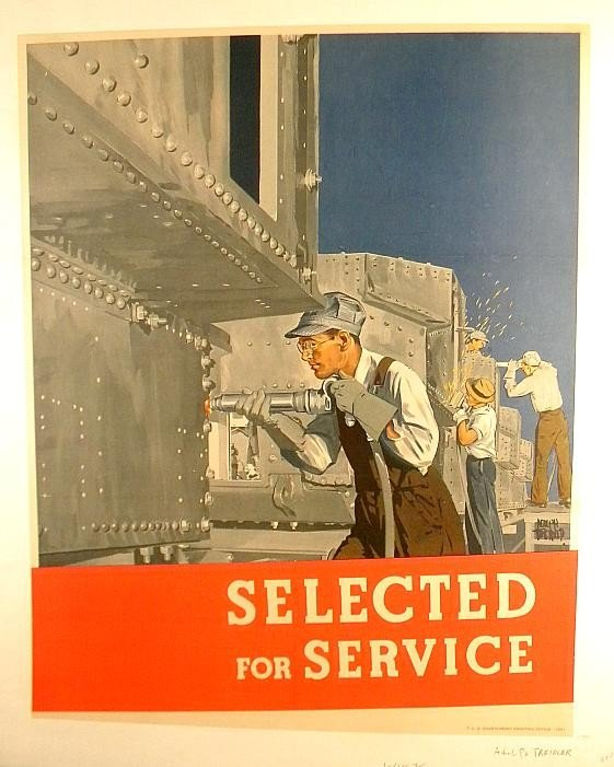 15: VINTAGE POSTER- WW II MEN WORKING WITH STEEL ADOLPH