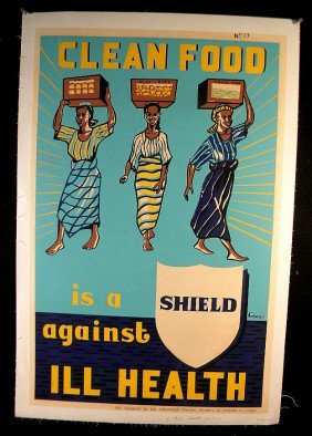 17: VINTAGE POSTER-CLEAN FOOD IS A SHIELD AGAINST ILL H