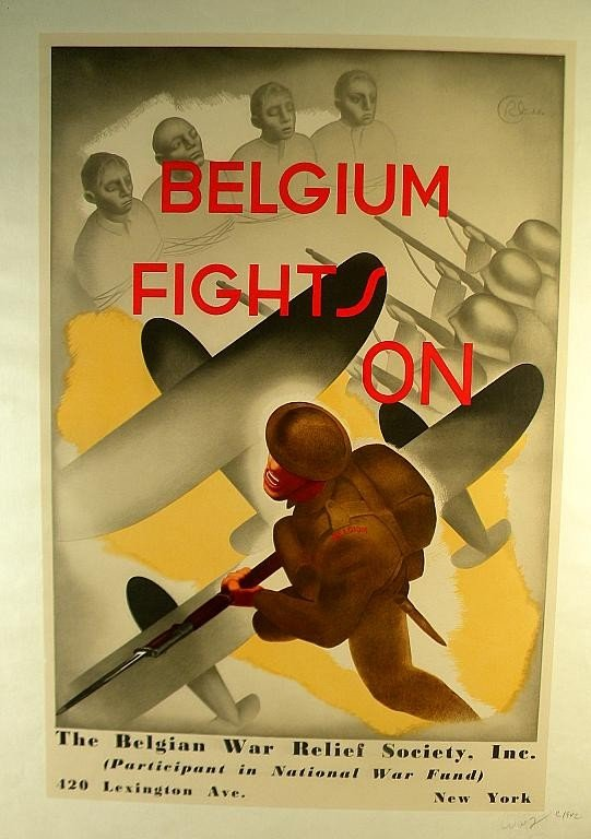 18: VINTAGE POSTER-WWII BELGIUM FIGHTS ON, CIRCA 1942