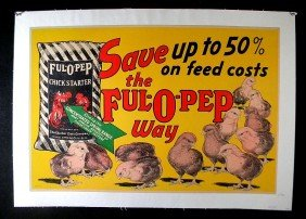 24: VINTAGE POSTER-FUL-O-PEP CHICKEN FEED ADVERTISING P