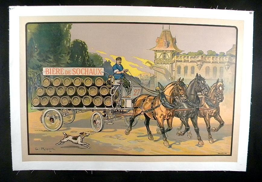 144: VINTAGE POSTER-FRENCH BEER POSTER CIRCA 1920
