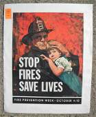 397: VINTAGE POSTER-FIRE PREVENTION WEEK, CIRCA 1950, S