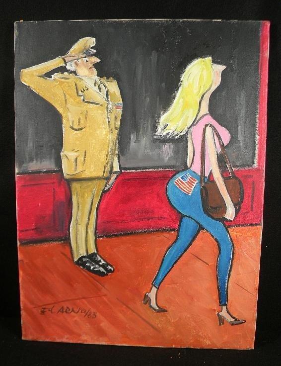 79: Ed Arno Orig. Cartoon o/c Soldier Saluting Womans R