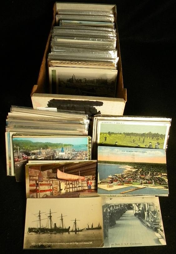 9: POSTCARDS MIXED BOX LOT U S & FOREIGN OLDER