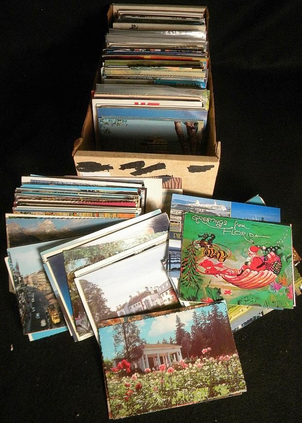 10: POSTCARDS MIXED BOX LOT U S & FOREIGN OLDER