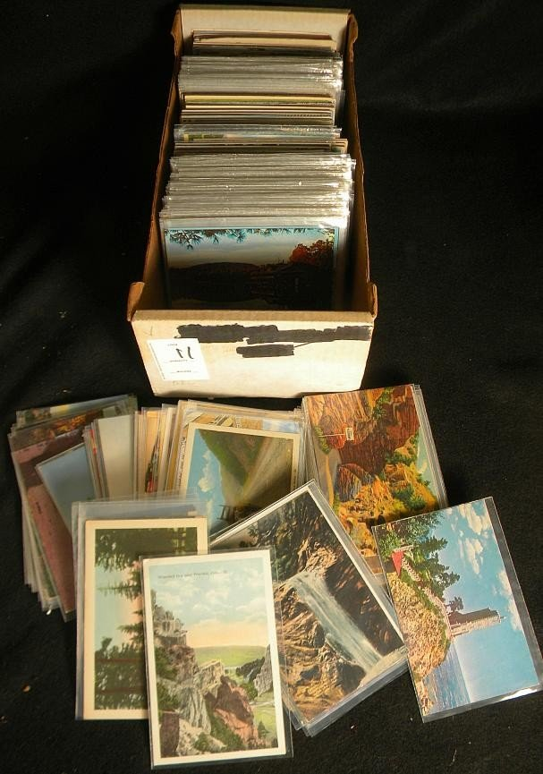 11: POSTCARDS MIXED BOX LOT U S & FOREIGN OLDER