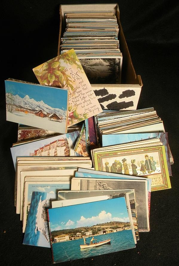 13: POSTCARDS MIXED BOX LOT U S & FOREIGN OLDER