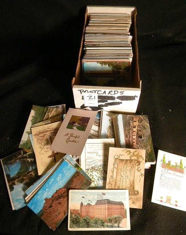 21: POSTCARDS MIXED BOX LOT U S & FOREIGN OLDER
