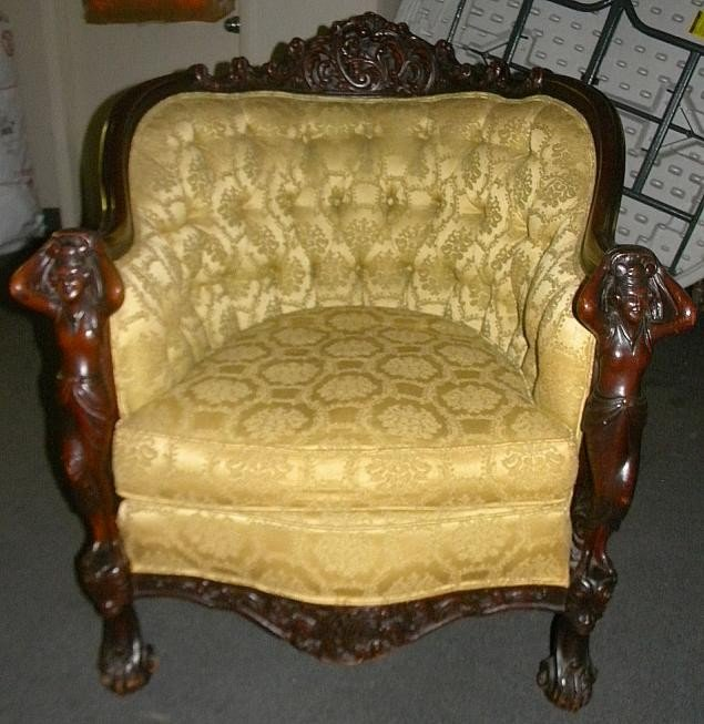 2: Carved Armachair With Carved Full Figured Risque Wom