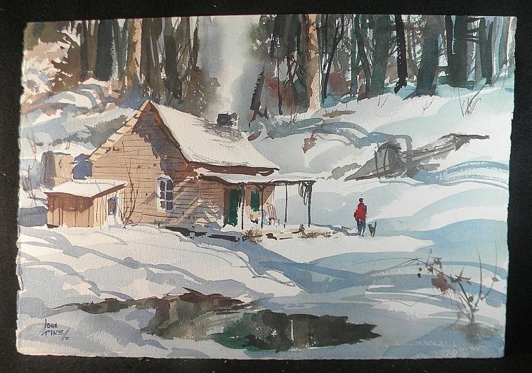 10: John Pike w/c Winter Cabin Scene w/Man & Dog