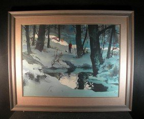 John Pike Large W/c Man & Dog Walking Thru Woods