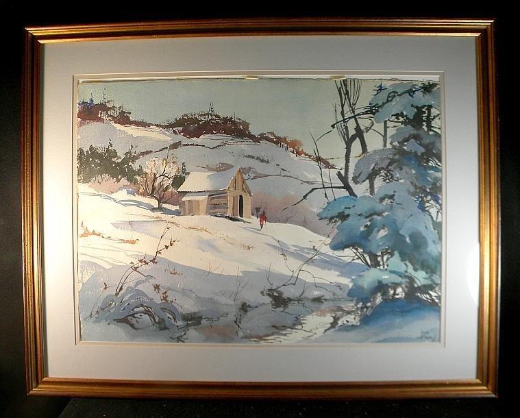 12: John Pike Large Watercolor Winter Landscape